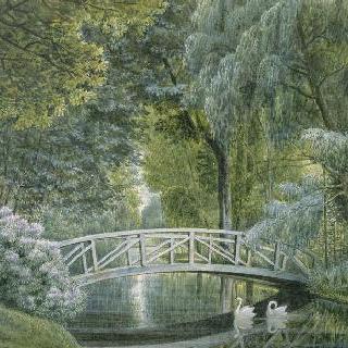 말메종, 성 왼쪽으로 흐르는 강 위의 나무 다리 전경