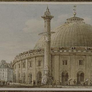 파리의 밀, 밀가루와 곡식 시장의 전경과 천체와 태양 기둥
