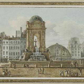 파리 시장의 샘과 광장 전경