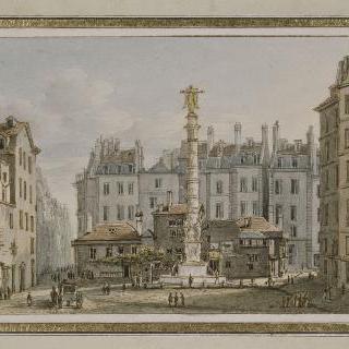 파리 샤틀레 앞의 대지에 건설된 분수와 광장의 전경