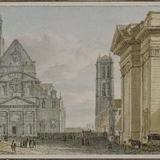 파리의 몽 성 쥬느비에브에 위치한 성 테티엔 성당의 전경
