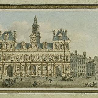 파리 시청과 광장의 전경