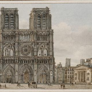 파리 노트르담 대성당의 정면 현관과 광장의 전경