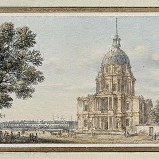 파리 앵발리드 황제 성당의 남쪽에서 바라본 돔의 전경