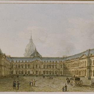 파리 앵발리드 황제 저택의 중앙 안뜰의 전경