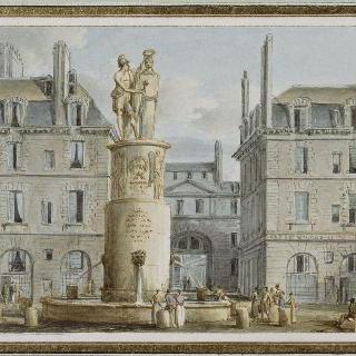 파리의 공중 급수장으로 사용되는 드사익 장군의 기념물의 전경