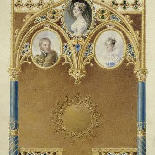 세 개의 작은 상이 있는 고딕식 시계 초안 : 조세핀, 웨젠느, 오르탕스