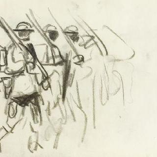 행진하는 병사 세 명의 실루엣