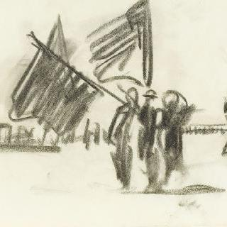 두 개의 깃발과 군사 열병식