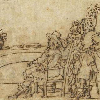 음악실 : 클라브생을 연주하는 여인과 경청하는 앉아 있는 남자와 두 명의 남자들