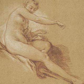 누워있는 오른쪽 다리와 오른팔과 우측 방향으로 앉아 있는 나체의 젊은 여인