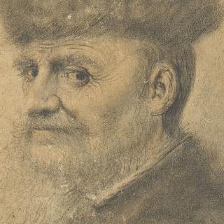 챙 없는 모자를 쓴 좌측 3/4정도 몸을 돌린 남자의 초상