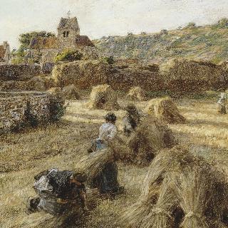 곡식단을 묶는 여인들