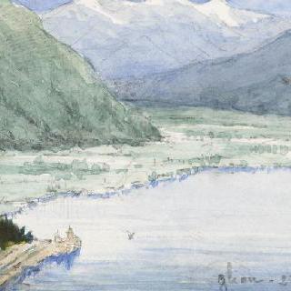 산악 풍경, 론 골짜기 입구, 글리옹 기차역에서 본 정경