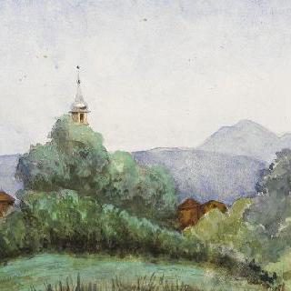 배경에 있는 산과 떨어져 보이는 성폴 마을