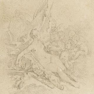 사랑의 신들에게 둘러싸인 비너스와 발밑의 두 마리의 비둘기