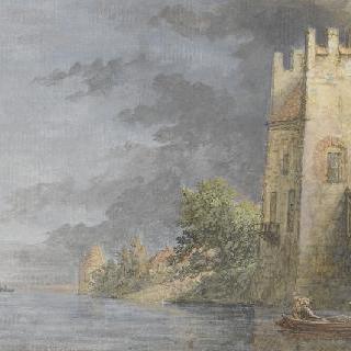 강가 위로 성의 전경