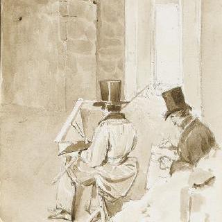 프로뱅의 세자르 탑 안의 그림 그리는 두 화가들