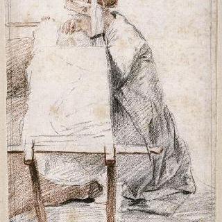바닥에 앉아 틀에 자수를 놓는 아벨그라드 부인