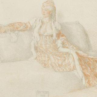 긴 의자 위에 앉아 있는 콘스탄티노플의 귀부인