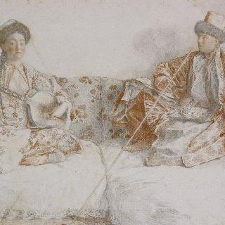 탐부라를 연주하는 타타르 여인과 의자에 앉아 담배 피우는 남자