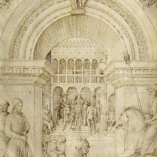 베네치아 왕궁 건축물의 내부에서의 그리스도의 태형