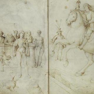 9명의 사람 : 열린 무덤 위로 말에서 내리는 기병