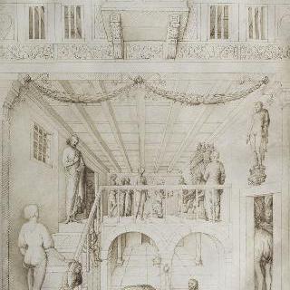 어느 왕궁의 내부 전경, 안쪽 : 처형된 남자의 두상을 가져다 놓음