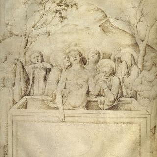 세 개의 십자가와 석관 덮개 : 그리스도의 매장의 애통함