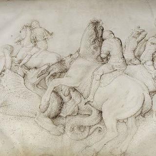 다섯 명의 기병과 용기병간의 전투