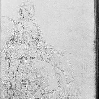 우측으로 몸을 돌려 앉아 있는 젊은 여인