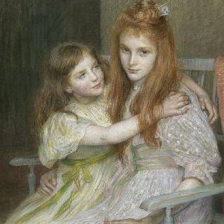 긴 의자에 앉아 있는 두 처녀