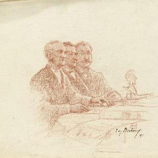 탁자에 앉아 있는 오른쪽 방향의 4분의 3상의 세 명의 남자들