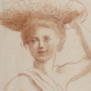 머리 위에 올린 바구니를 왼손으로 잡고 있는 젊은 여인의 정면 흉상
