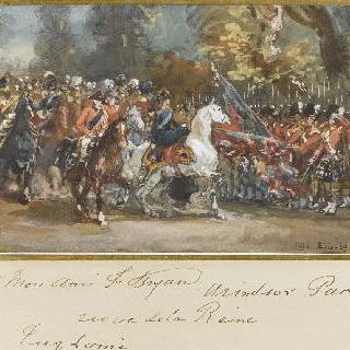 스코틀랜드 경비대의 열병식을 지나가는 말 위의 빅토리아 여왕