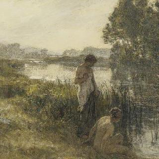 연못가의 목욕하는 두 여인들