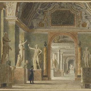 나폴레옹 시대의 루브르 궁의 고대 박물관의 전경