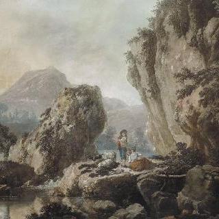 산의 풍경 : 넓은 벌판 위의 목동과 두 여인