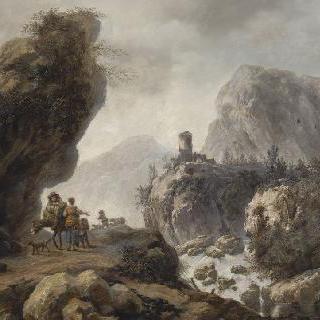 산의 풍경 : 거리의 당나귀에 올라탄 남자