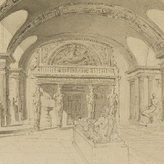 루브르의 여인상기둥관의 전경
