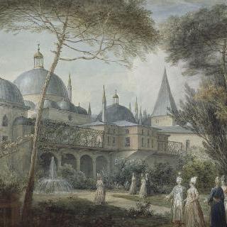 왕궁 앞 꽃이 만개한 정원 내의 인물들의 산책