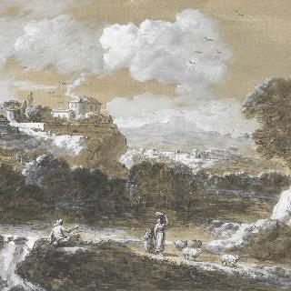 폭포 주변의 어부, 여인과 아이가 있는 풍경