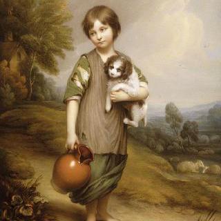 개를 안고 있는 젊은 아낙네