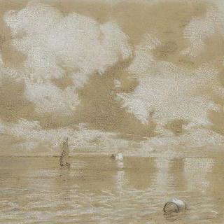 수평선에 돛단배가 있는 잔잔한 바다