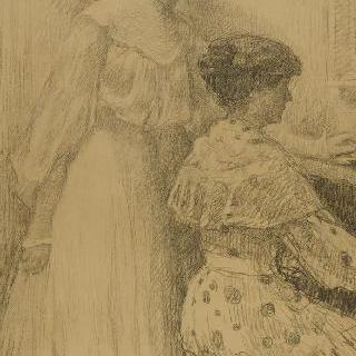 피아노를 치는 두 여인