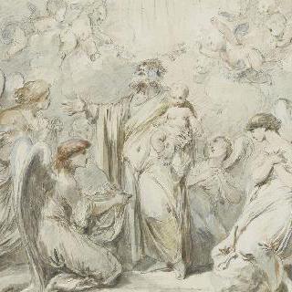 천사들의 숭배를 받는 아기 예수를 잡고 있는 성 조제프