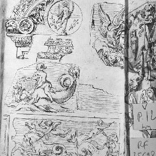 4가지 코니스의 장식 소재와 장식 : 메두사의 머리, 말 타고 가는 정령들