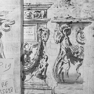조각된 받침돌의 2가지 세부 묘사 : 숫양의 머리, 독수리와 화관