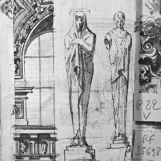 장식된 천장화의 일부와 여인상 기둥의 습작 2점