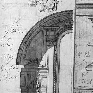 코니스의 일부와 아케이드의 세부 묘사